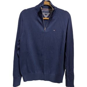 Tommy Hilfiger Quarter Zip Pullover Sweater, Navy